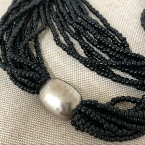 Silpada 11-strand black seed bead necklace